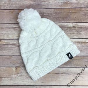 The North Face White Cable Knit Pom Pom Beanie